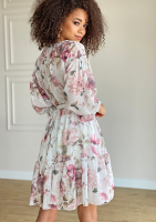 Sukienka z szyfonu w kwiaty Biała