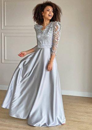 Sukienka maxi z gipiurą Srebrna