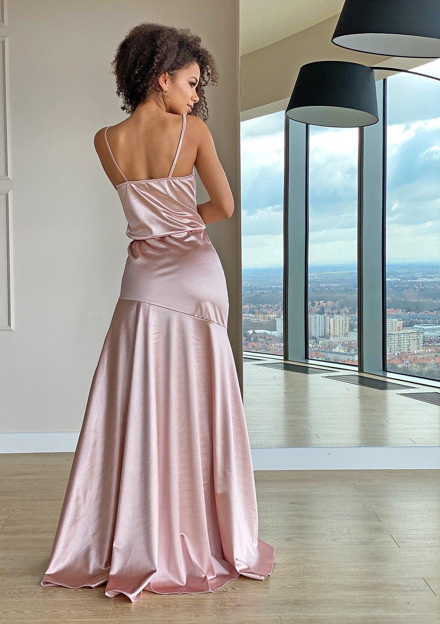 Sukienka maxi z satyny Pudrowy róż