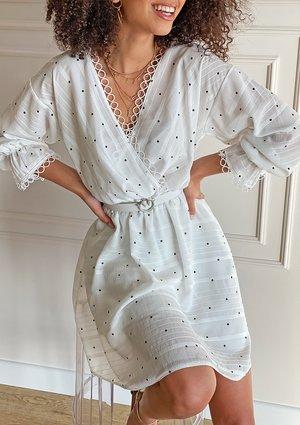 Kopertowa sukienka Dots Biała