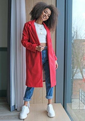 Płaszcz z flauszu Czerwony