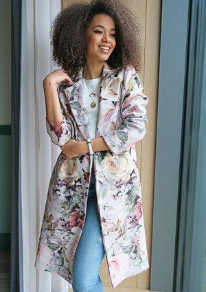 Płaszcz z flauszu Powder flowers print