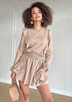 Sukienka z bawełny z falbankami Beżowa