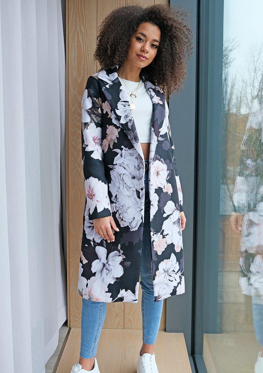 Płaszcz z flauszu Black flower