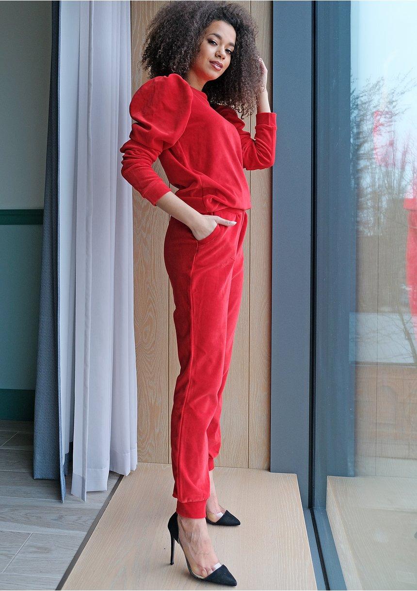 Spodnie z weluru Czerwone ILM