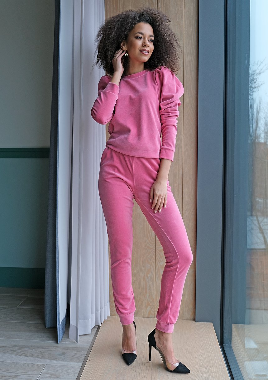 Spodnie z weluru Różowe
