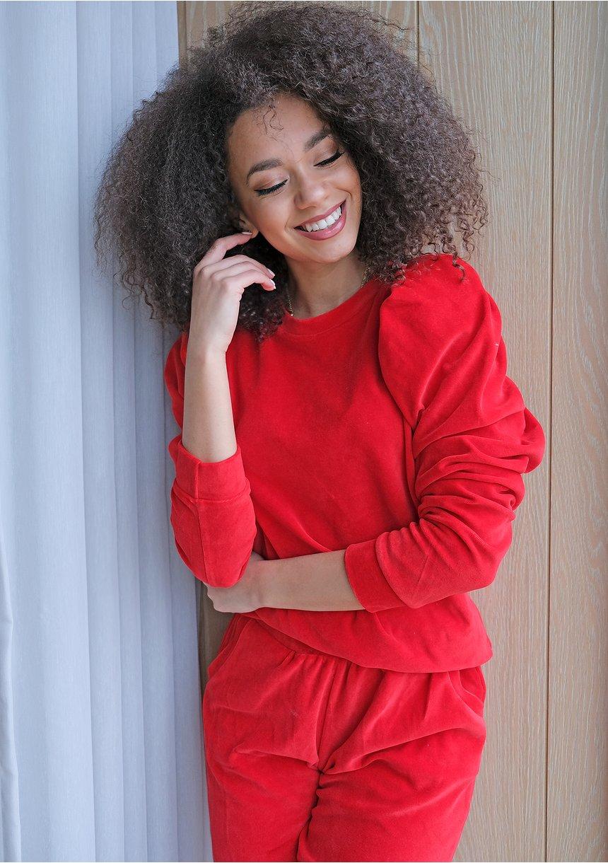 Welurowa bluza z bufką Czerwona