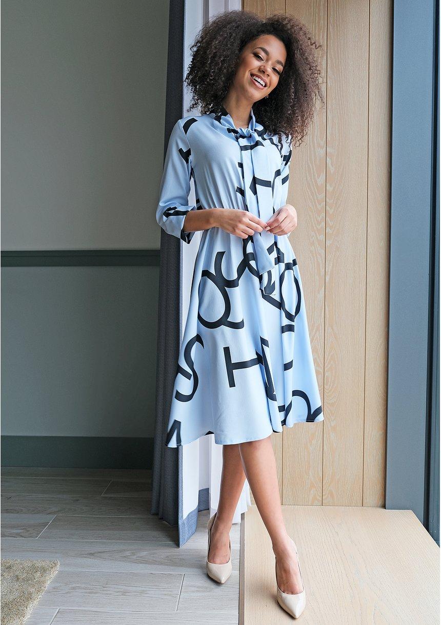 Sukienka midi z wiązaniem Print Błękitna