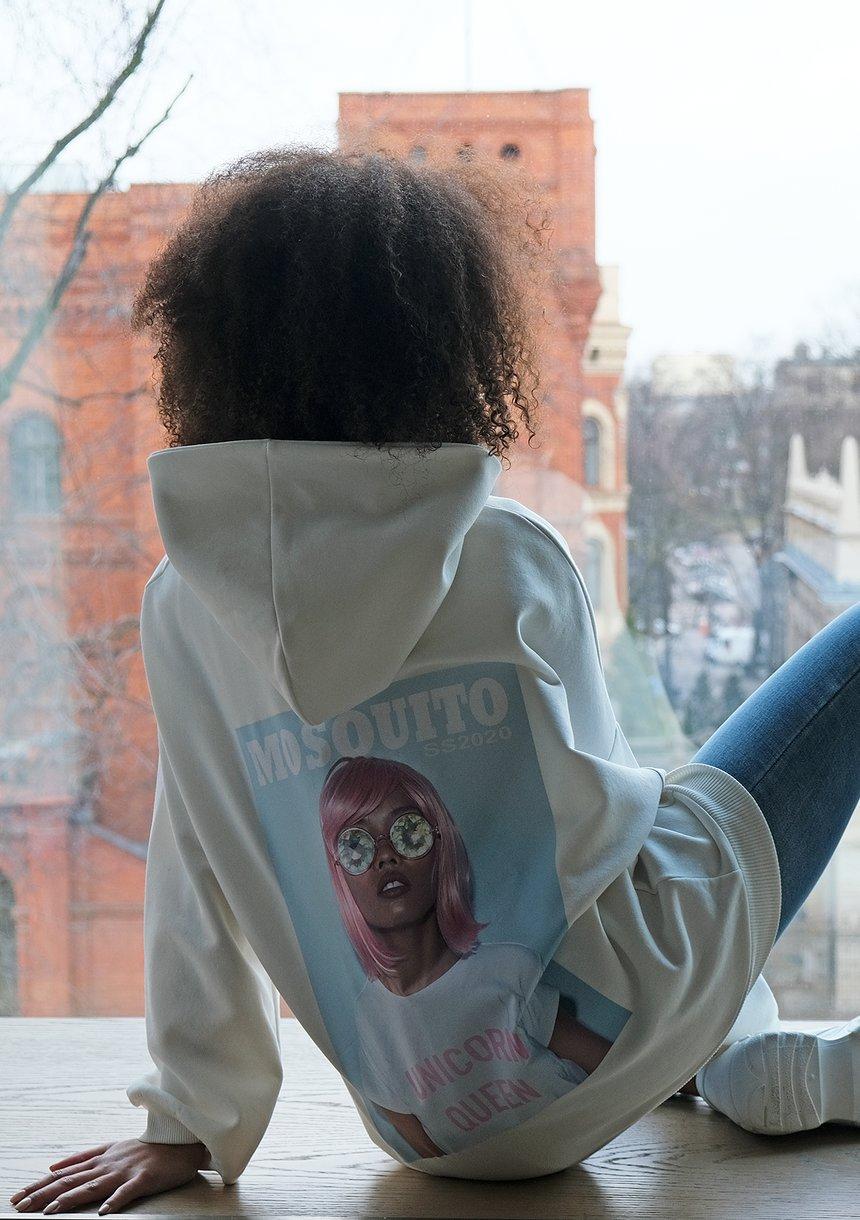 Bluza z kapturem Unicorn Queen Kremowa