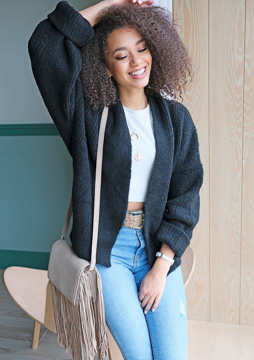 Sweter kardigan A48  ILM Czarny