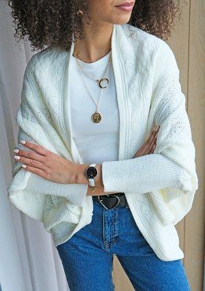 Ażurowy sweter narzutka oversize A46 Kremowy ILM