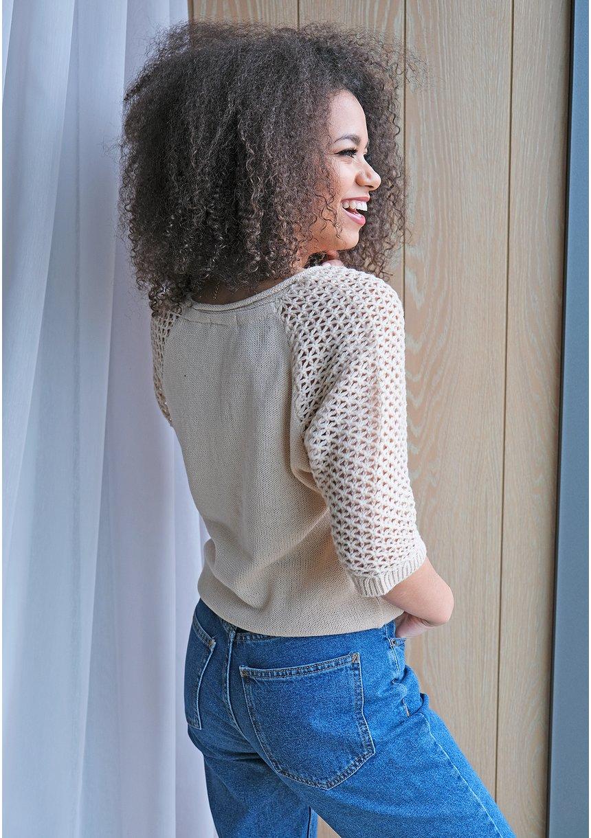 sweter z siatkowym rękawem A50