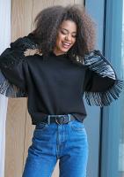 Bluza z frędzlami z eko skóry Czarna