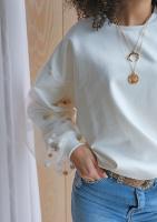 Bluza z tiulowym rękawem Pom Pom Kremowa ILM
