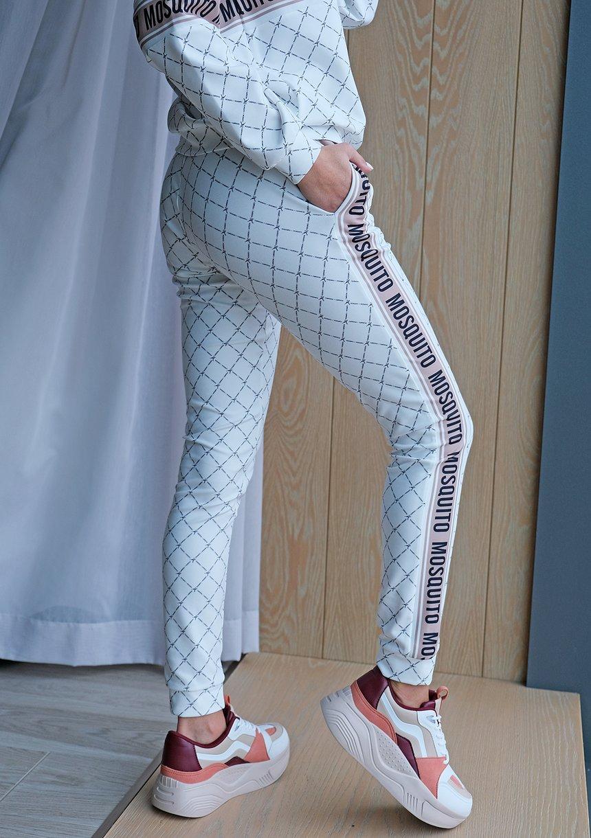 Spodnie z lampasem logo brand Białe