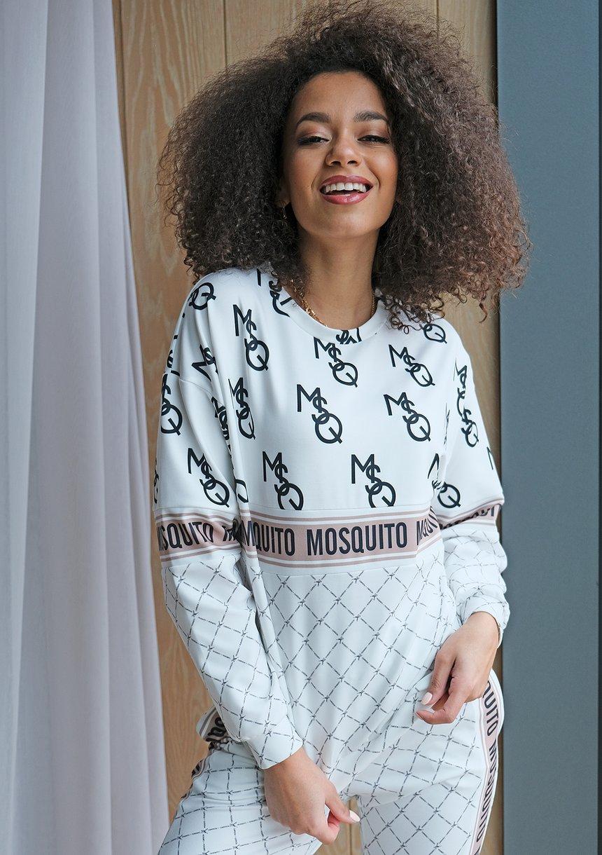 Bluza ze wstawką logo brand Biała