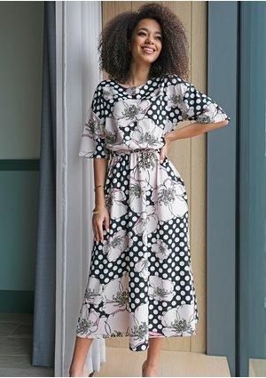 Sukienka midi Dots Flowers