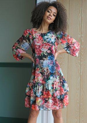 Sukienka z falbaną w kwiaty Chifon Czarna