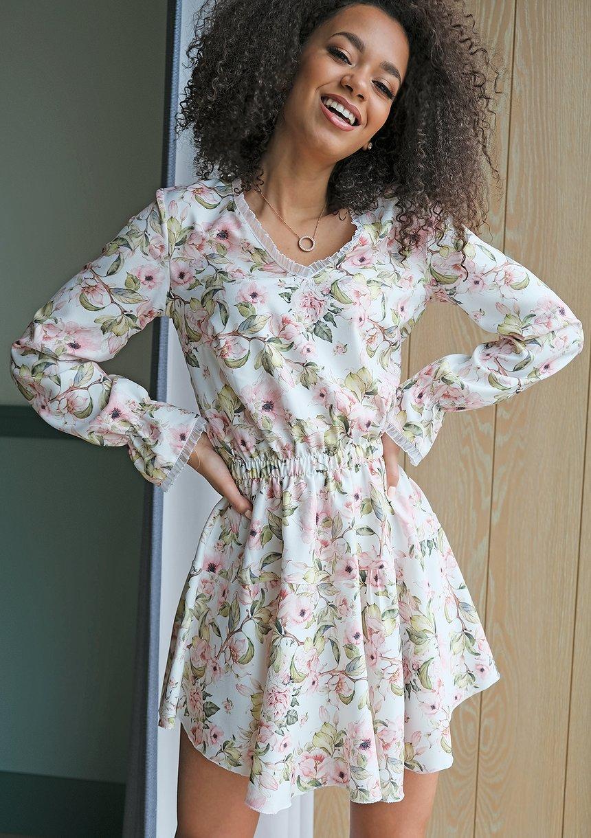 Krótka sukienka spring flower Ecrue