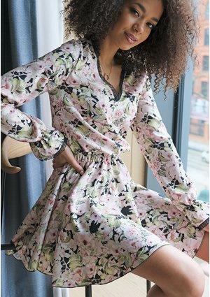 Krótka sukienka spring flower Czarna