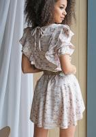 Sukienka mini flowers  z falbanami  Nude