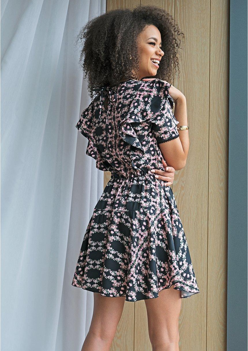 Sukienka mini flowers z falbanami Czarna