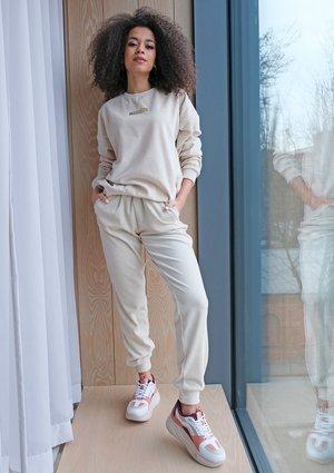 Spodnie z weluru Beżowe ILM