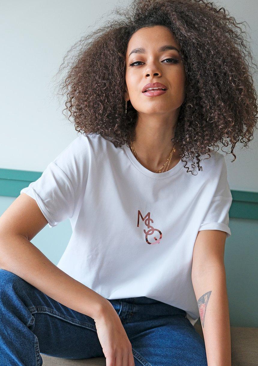 "T-shirt "" rose gold MSQ"" Biały ILM"