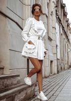 Sukienka z bawełny z falbanami Kremowa
