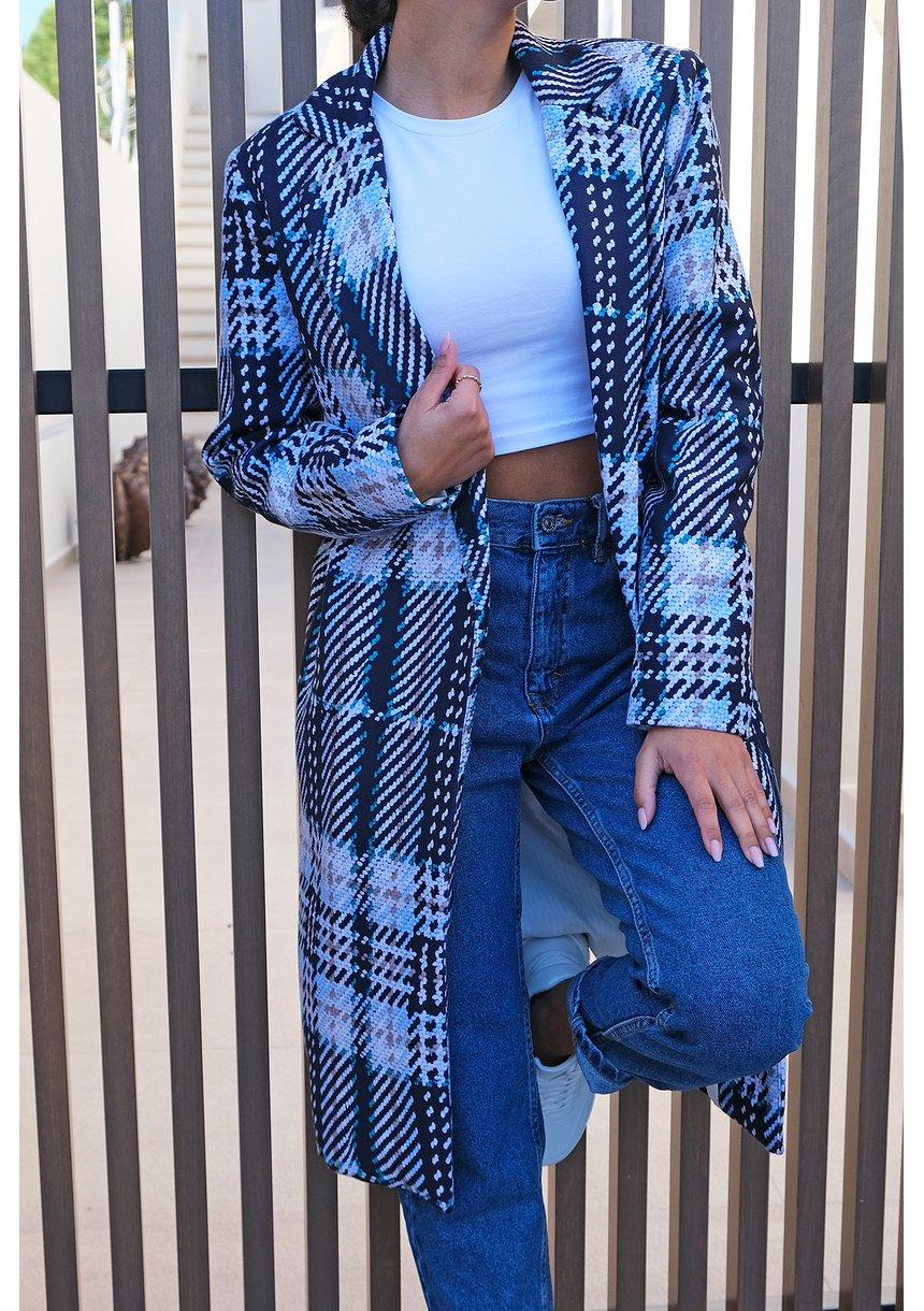 Płaszcz z flauszu drukowany w Kratę błękitny