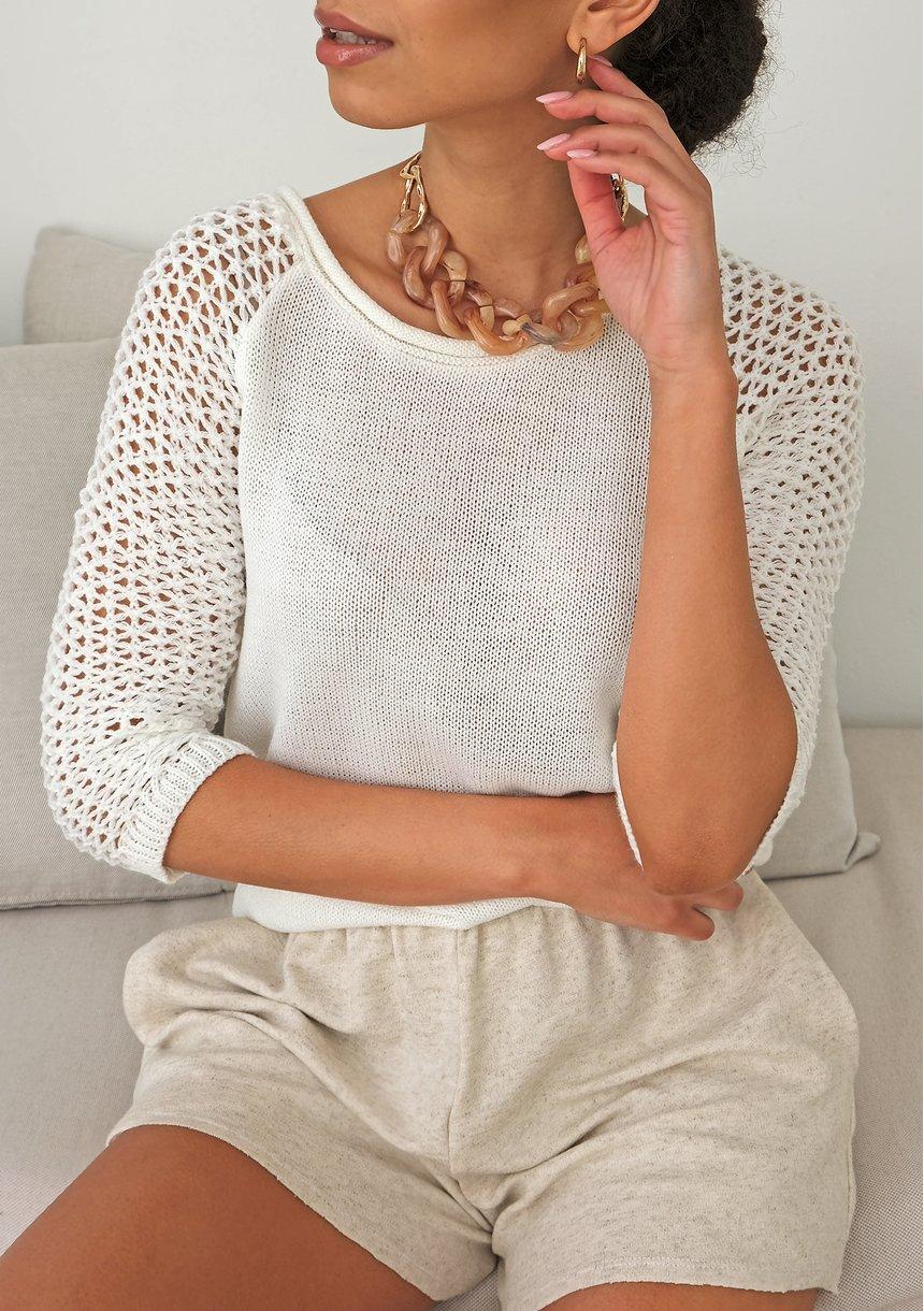 Letni sweter z rękawem z siatki A50 Ecrue ILM