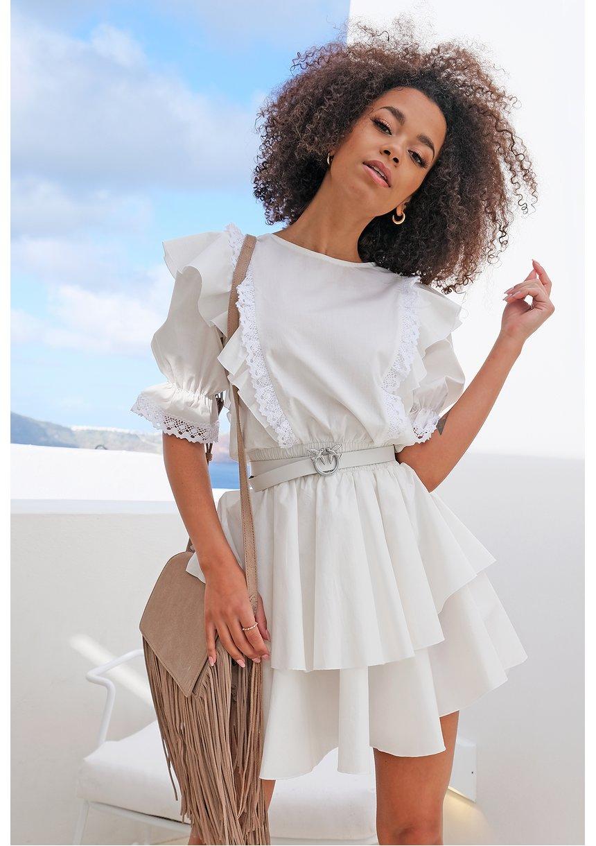 Sukienka z popeliny z falbanami i koronką Biała