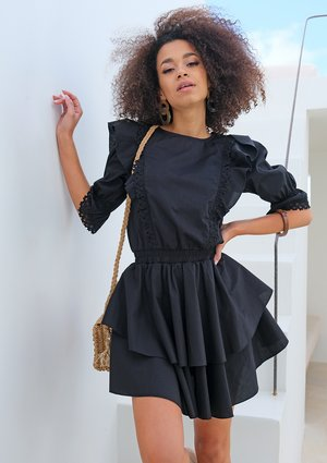BLACK POPLIN DRESS WITH FRILLS AND LACE