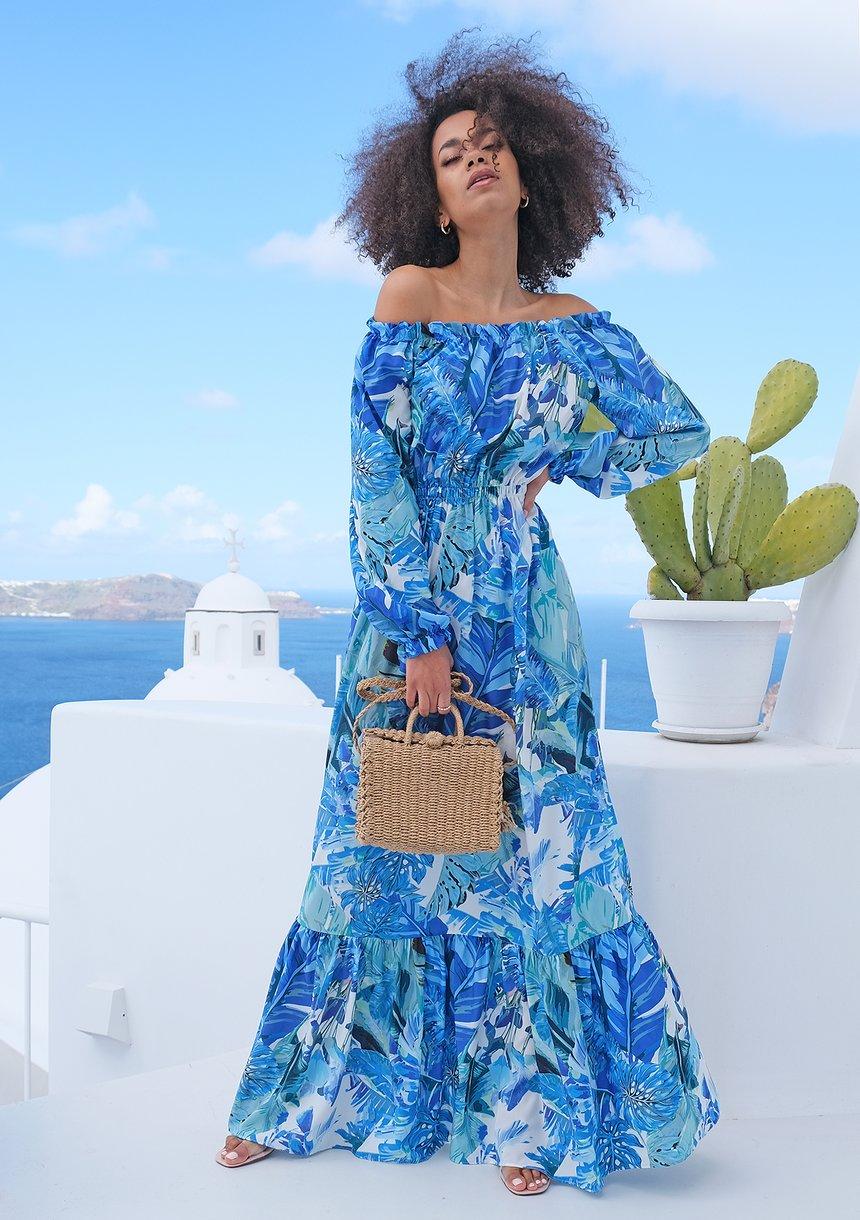 Sukienka maxi w stylu hiszpańskim blue bananas