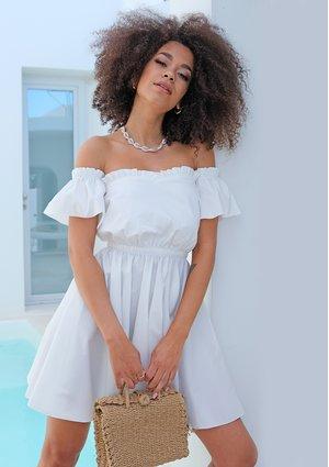 WHITE POPLIN OFF SHOULDER DRESS