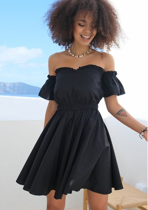 BLACK POPLIN OFF SHOULDER DRESS