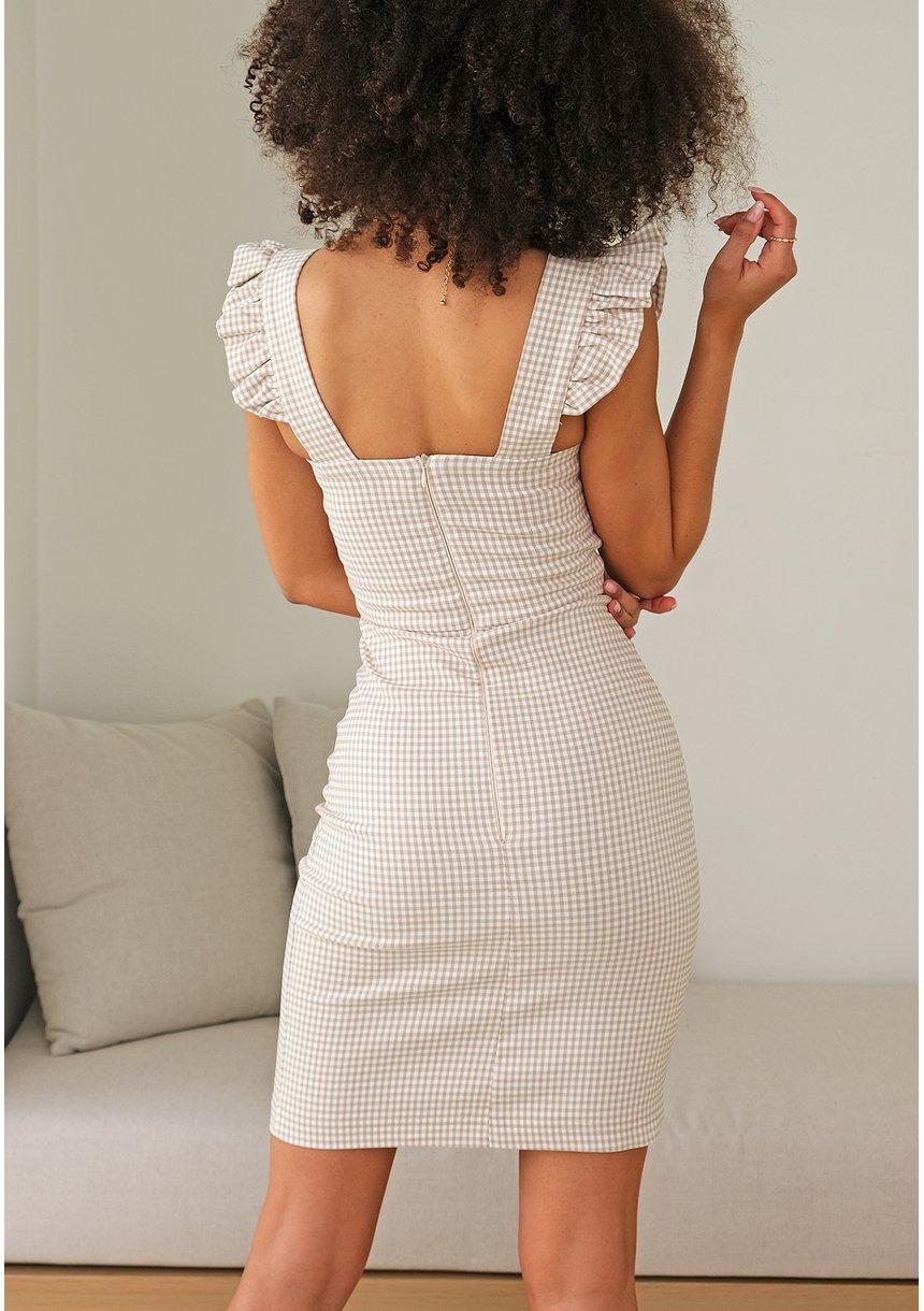 Dopasowana sukienka w kratkę Vichy Beżowa