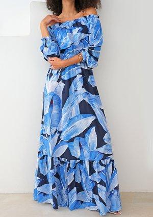 Sukienka maxi w stylu hiszpańskim blue leaves