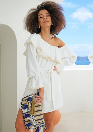 WHITE OFF SHOULDERS DRESS WITH ECRU LACE