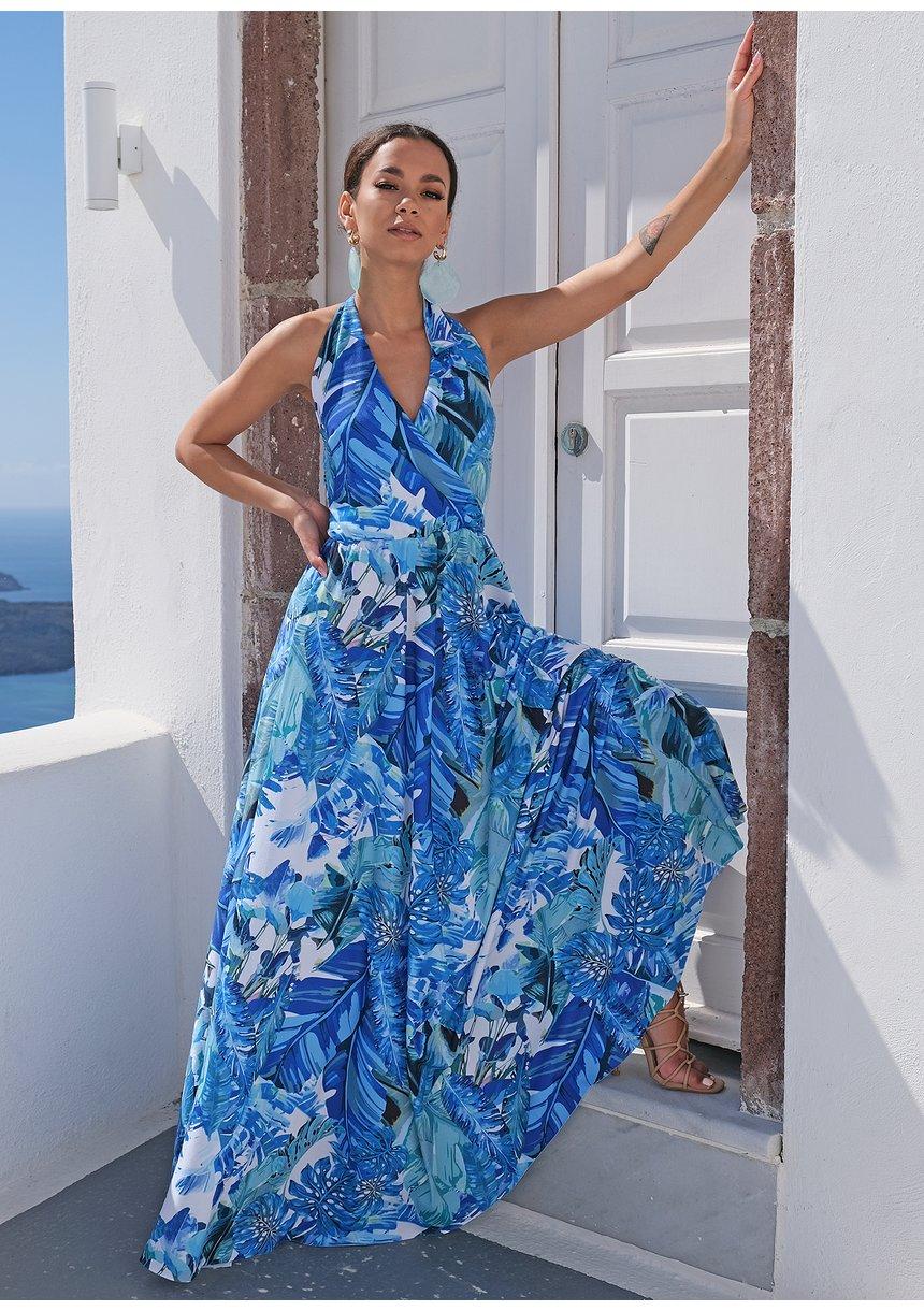 Sukienka maxi wiązana na szyi blue leaves