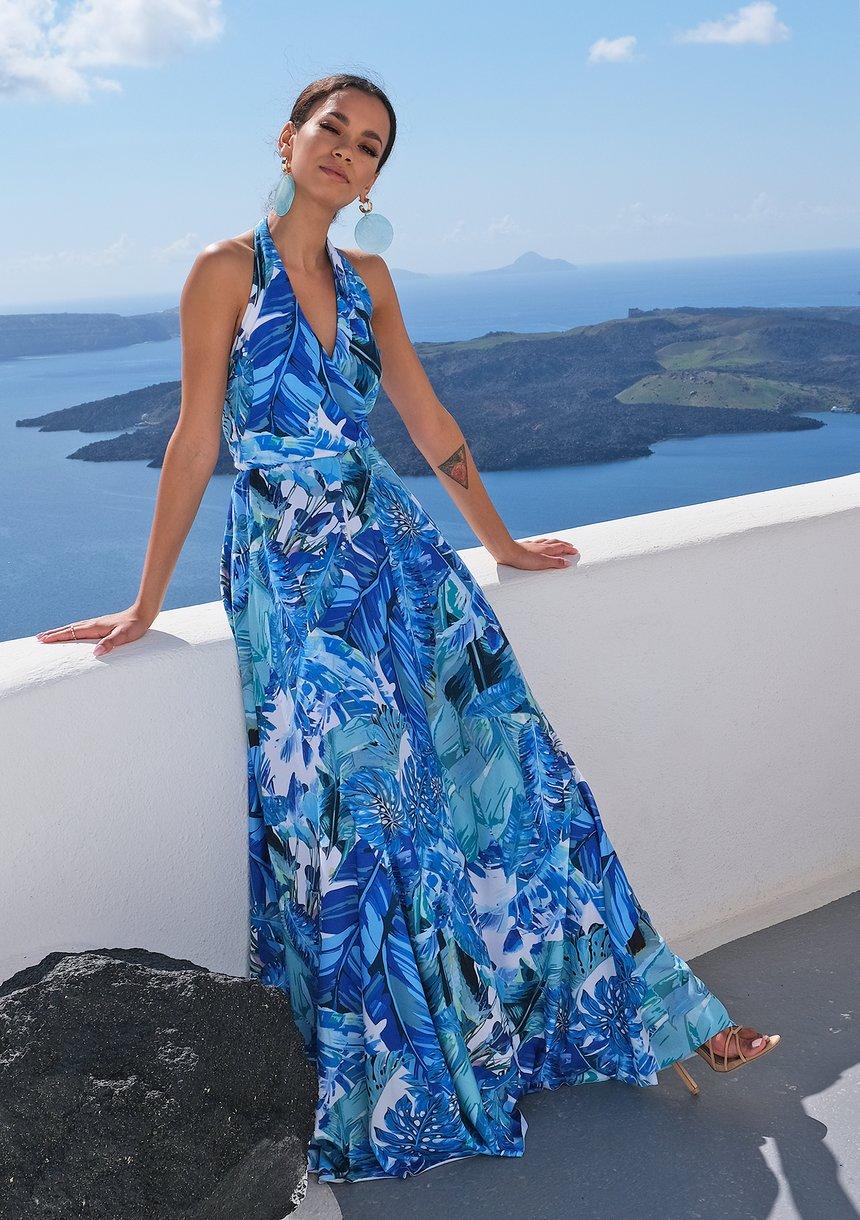 Sukienka maxi wiązana na szyi Blue Bananas