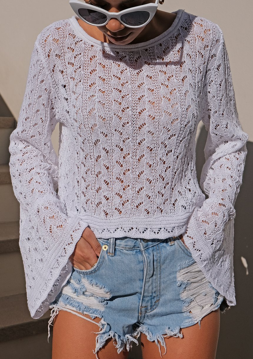 Ażurowy krótki sweter z bawełny Biały