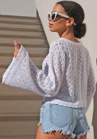 Ażurowy krótki sweter z bawełny Biały ILM A52