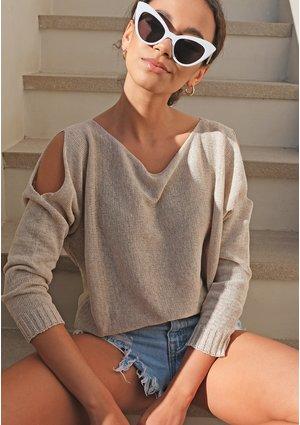 Sweter z bawełny z pęknięciami na ramionach Beżowy ILM A07