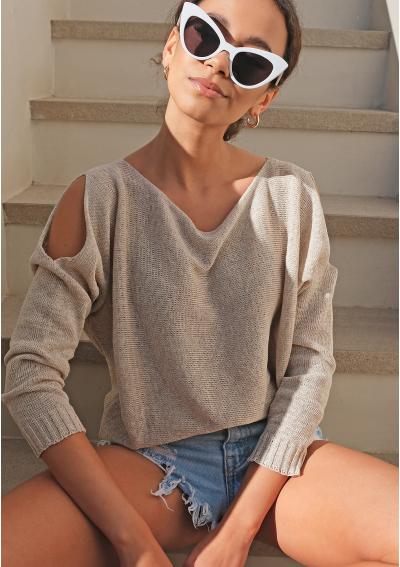 Sweter z bawełny z pęknięciami na ramionach Beżowy