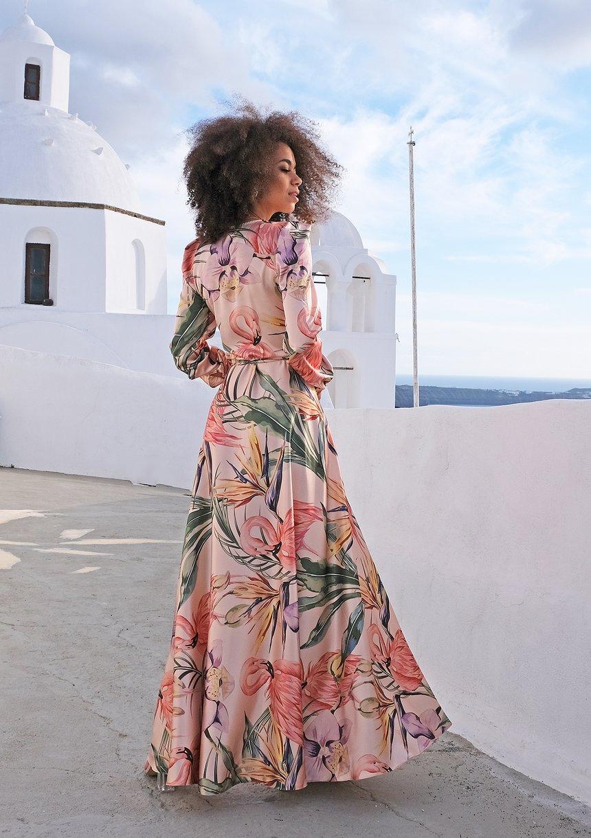 Sukienka maxi powder Flamingi