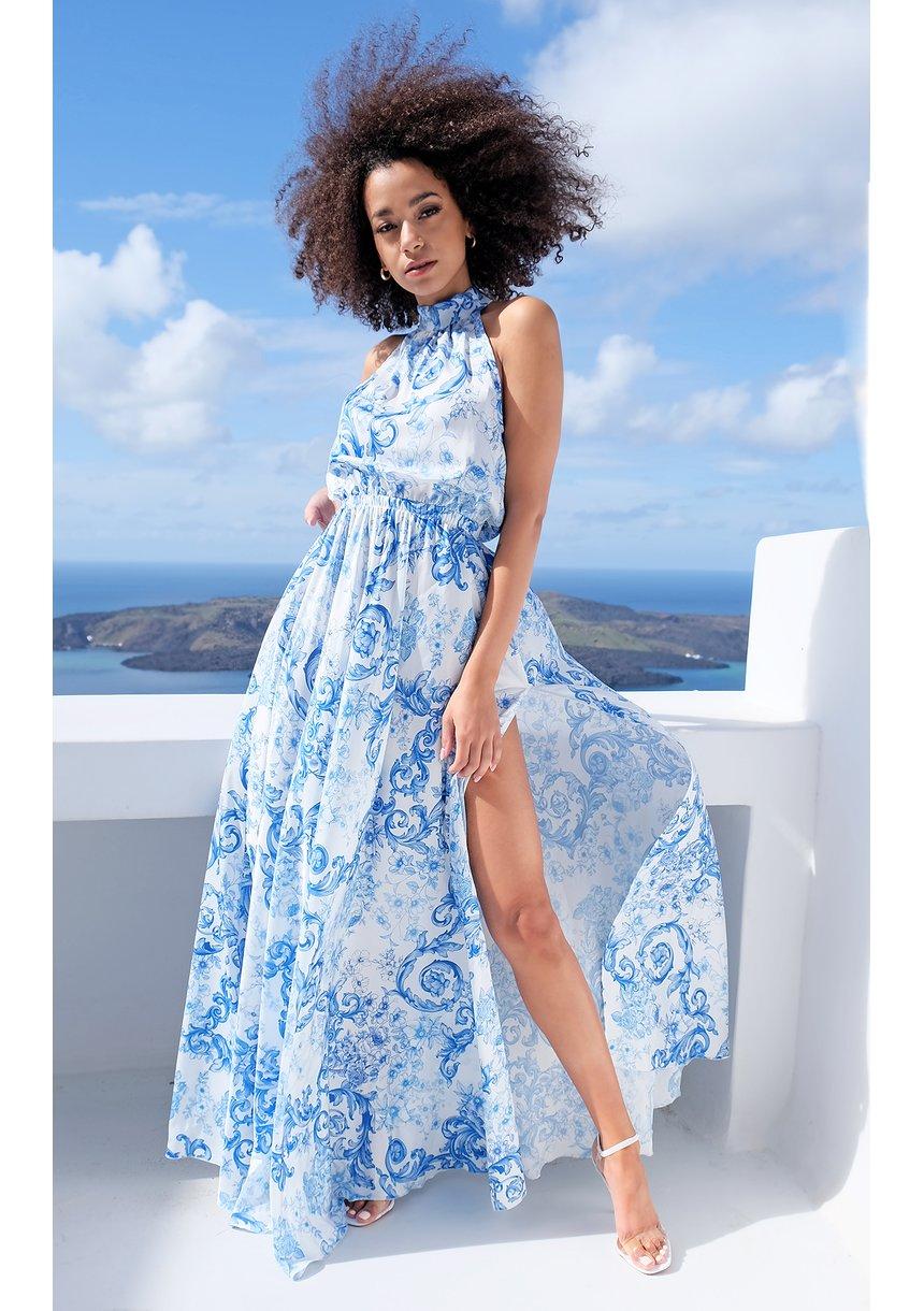 Sukienka maxi z satyny blue print Thira