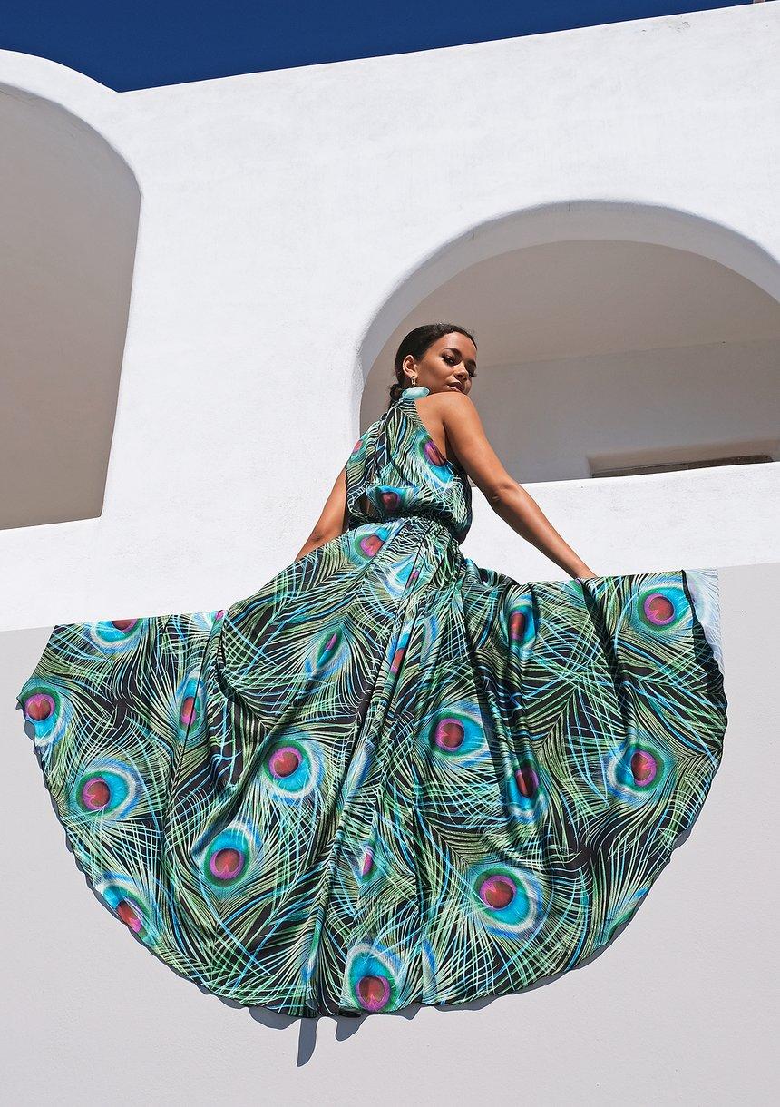Sukienka maxi z satyny pawie pióra Czarna