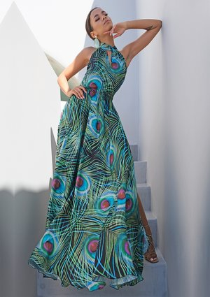 BLACK MAXI DRESS IN PEACOCK FEATHERS PRINT