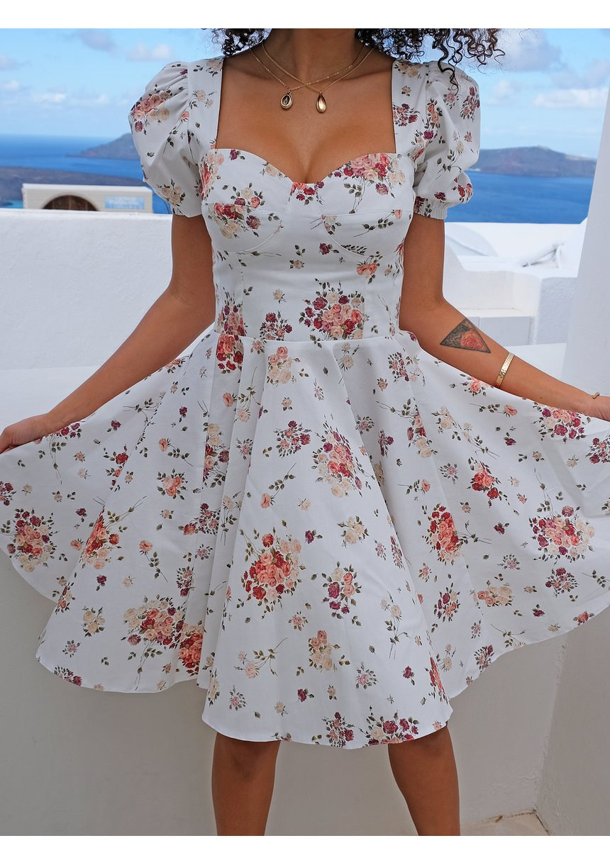 Sukienka z gorsetową górą w łączkę Biała